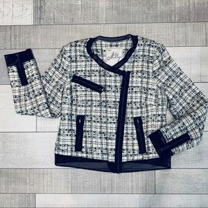 Milly Moto crop blazer jacket white black tweed 8